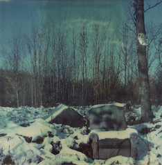 (abdukted1456) Tags: winter snow ny newyork abandoned sign rural polaroid sx70 chair december chairs decay empty country posted integral expired tz notrespassing speckle timezero expiredfilm landcamera instantfilm