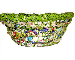 Newspaper and Yarn Basket (RoseRibbon) Tags: ecofriendly recycledpaper papergifts greengifts recycledgifts
