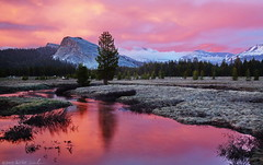 Red Dusk, Lembert Dome (DM Weber) Tags: california sunset red mountains reflection water clouds canon landscape yosemite sierranevadas tuolumnemeadows lembertdome eos5dmk2 psa148 dmweber