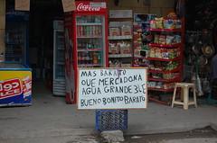 Bueno Bonito Barato (smileforyadira) Tags: sign advertising store pretty cola good bonito egypt whiteboard chips billboard cairo soda snacks cocacola crate cheap giza bueno advertise colddrink barato