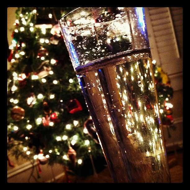 Bubbly by the tree, NEW YEARS ROCKIN EVE on TV :-)