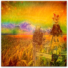Not in Kansas Anymore (garlandcannon) Tags: dog photomanipulation dorothy basket scarecrow butterflies woodenfence toto lacquer dropshadow flamingpear denslow mrcontrast