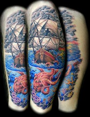 Underwater Ship Tattoo Pirate Ship Octopus Tattoo by