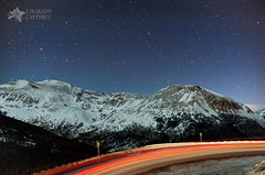 Starry Mountain Light Trails (Mike Berenson - Colorado Captures) Tags: sky mountain snow night stars colorado lighttrails peaks hairpin allrightsreserved lovelandpass mountbethel pettingellpeak coloradocaptures copyright2011bymikeberenson