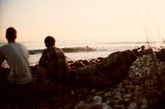 (Maddie Joyce) Tags: ocean california santa friends sunset sea portrait nature 35mm out happy evening maddie surf waves minolta ryan trevor sandbar surfing barbara gordon joyce surfers rincon lovelace hnaging