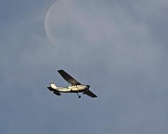 Serendipity (JJ Nuelle) Tags: moon airplane illinois nikon january mississippiriver 2012 chainofrocks d90