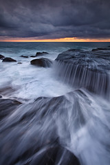 Whale of a Cascade (Xenedis) Tags: cascade clouds flow ocean rocks seascape sunrise water waves whalebeach newsouthwales nsw australia northernbeaches fh ig