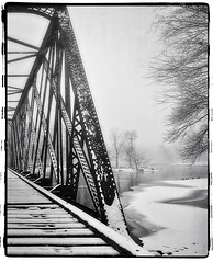 I have to shoot WHAT? - Week 3 (iPlaid34 (sooooo busy - catching up soon!)) Tags: old railroad bridge trees blackandwhite bw snow abandoned film ice water frame snowing neige foxriver sprockets cville carpentersville ihtsw ihavetoshootwhat