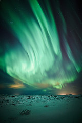 The green hand (LalliSig) Tags: winter sky cloud snow green ice yellow clouds stars landscape star iceland purple aurora borealis