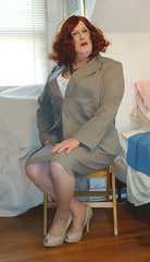 1-31-7 (prettysissydani) Tags: crossdressing redhead suit corset camisole