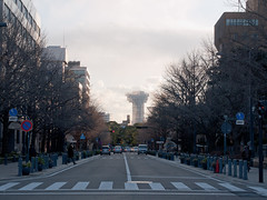 A town with a baseball stadium (kasa51) Tags: street japan digital lumix cityscape panasonic yokohama f18 olympuspen 45mm  gf1  mzuiko