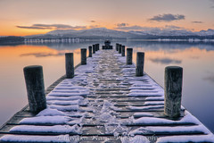Lake Windermere at sunset (bhawi) Tags: sunset snow mountains clouds pier lakedistrict snowcapped cumbria hdr lakewindermere photomatix