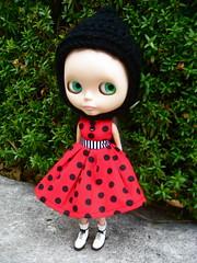 Polka Dot Dress and Pixie Helmet for Blythe