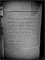 ~ Father Vaughen ~ (jenwren777) Tags: bw quotations liverpoolmuseum