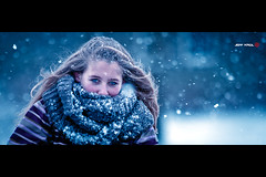 Blue Eyes (Jeff Krol) Tags: street blue winter woman snow cinema cold bike bicycle scarf canon hair eos frozen eyes frost dof bokeh snowy streetphotography freezing snowfall cinematic hoogeveen tone f28 70200mm 70200l ef70200mmf28lusm 60d canon60d jeffkrol