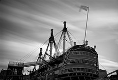 Victory (Explore 02/05/16 #267) (Sarah Marston) Tags: longexposure bw clouds sony victory portsmouth april alpha portsea dockyard hmsvictory 2016 portsmouthhistoricdockyard a65