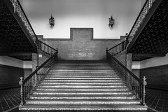 Up The Stairs (BoXed_FisH) Tags: plaza travel sunset blackandwhite bw monochrome architecture stairs square mono sevilla andaluca spain sony wideangle monotone seville es movieset archtitecture plazadeespana attackoftheclones urope sonyzeiss sonya7 sel1635z sony1635mmvariotessartfef4zaoss sonyzeiss1635f4oss