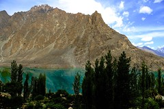 DSC3580 View of Attabad Lake from KKH (najeebmahmud) Tags: blue trees pakistan light summer mountain lake snow mountains tree green nature water yellow clouds reflections river landscape nikon rocks asia stones bluewater bluesky karakoram d810 nikond810
