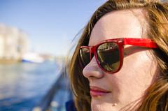 Rencsi (SUSHI) Tags: red portrait woman reflection sunglasses copenhagen nyhavn lipstick renata