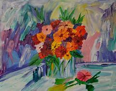 Art Day Flowers (BKHagar *Kim*) Tags: flowers art floral painting artwork paint acrylic canvas vase thursday impression impressionist artday bkhagar