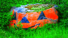 The Jack O' Lantern Rock in the RM of Ste. Anne (ezigarlick) Tags: jackolantern rock painting boulder rmofsteanne muncipalrd40 manitoba canada folkart