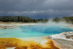 Sapphire Pool (VenturaMermaid) Tags: nature pool landscape cloudy scenic steam yellowstone geyser f71 sapphirepool