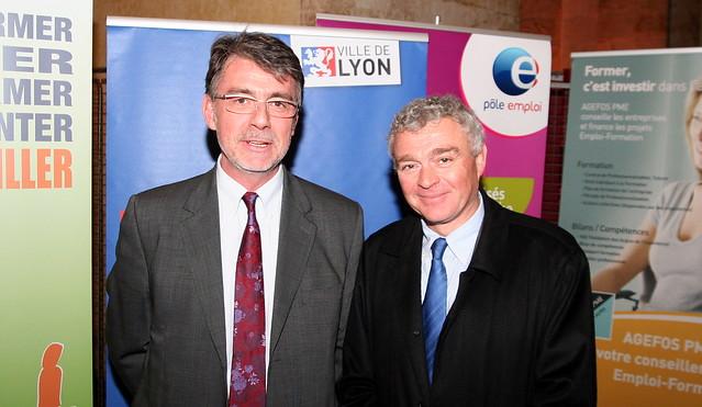 Jacques POTELET (Directeur territorial du Pôle Emploi Rhône) et Jean-Louis JOLY (MEDEF Lyon-Rhône)