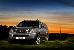 Nissan Navara - Emley (PGDesigns.co.uk) Tags: light sunset lightpainting colour car photoshop painting photography tv long exposure nissan offroad 4x4 automotive layers mast moor emley 2011 navara pgdesigns