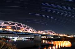 Maruko Bridge (Tama River) StarTrails (reonides) Tags: longexposure  startrails interval startrail   nikond300 tokina1116mm