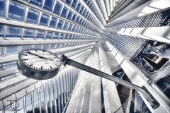 Time's up - Lige Guillemins (JD Photographie.) Tags: city travel b santiago light sunset art clock colors lines station architecture digital train canon photography 1 julien exposure raw day photographie angle belgium belgique time gare curves escalator explore 200 calatrava rails 100 horloge jd 500faves dri franais hdr tgv lige blending wallonie belge flyaway delaval 100faves guillemins 200faves 40d 300faves 400faves 600faves canon40d jdphotographie