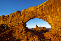Achtung! Go Away! (Michael Riffle) Tags: park autumn red fall nature sunrise landscape dawn utah nationalpark day arch arches clear moab geology redrock archesnationalpark turretarch 2011 windowarch coloradoplataeu