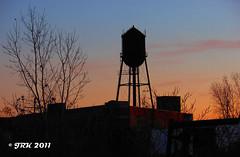 Water Tower Silhouette (Detroit Bulldog) Tags: sunset urban silhouette watertower detroit urbex jrk detroitbulldog