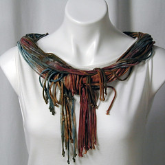 The Good Earth (Naked) Soba Scarf (dyedianadye) Tags: sky brown scarf necklace earth fringe funky bamboo sage clay jersey noodle etsy lush ochre handdyed dyedianadye
