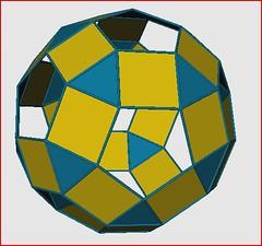 Rhombicosidodecahedron K5 Galaxy (Origami Tatsujin 折り紙) Tags: blue art colors gold shiny geometry prism cupola papiroflexia papercrafts polyhedra modularorigami tomokofuse bluegold rhombicosidodecahedron geometricbeauty geometricart antiprism tetrahedralsymmetry beautifulorigami squareflatunit regularhexagonalflatunit k5galaxystewarttoroid papercraftssquareflatunit kunikokasahara triangleflatunit regularhexagonalunit
