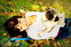 Maureena & Dodger. (Seantae Bolen Photography) Tags: dog girl grass leaves canon rebel pug t3