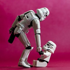 A helping hand (color version) (Kalexanderson) Tags: pink friends stilllife color me toys starwars hand you sweden stockholm stormtroopers son troopers together stormtrooper forever fatherandson familylife ordinarylife 365daysofstormtroopers stormtrooperandson