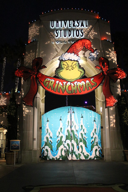 Universal Studios Hollywood Main Gate at night