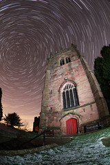 St Bertoline, Barthomly church a different angle Explored december 17th (explore the darkness (NFG)) Tags: portrait moon church night canon star sigma fisheye polaris 10mm startrail 550d