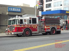 FDNY - Engine 23 - 12-12-11 (FDNY8231) Tags: new york 2001 city nyc rescue usa ny tower truck fire 1 4 rear 911 engine nypd 11 aerial september mascot mount company mat ferrara ladder emergency firefighter 54 fdny department siren dalmatian tiller dept seagrave response haz kfd esu responding code3 sfb mcfd ctfd hd77