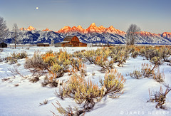 Moonset over Antelope Flats (James Neeley) Tags: moon sunrise landscape grandtetons tetons hdr moonset alpenglow grandtetonnationalpark mormonrow 5xp moultonbarn jamesneeley flickr23