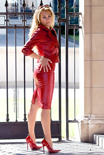comtesse-monique_red leather skirt suit, seamed stockings, pointed heels, suspender bumps (1)