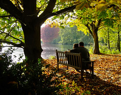 Enjoying the autumn sunshine at the Vyne (Beardy Vulcan) Tags: autumn trees england people woman lake plant man fall leaves gardens bench flora october couple seat branches hampshire nationaltrust 2009 grounds basingstoke thevyne sherbornestjohn loddonvalley weybrook