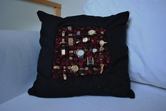 We have all the time in the world (9) (Magpies Laundry) Tags: art found time handmade objects pillow textile cushion blackwool redsilk wovencloth vintagewatches borocloth