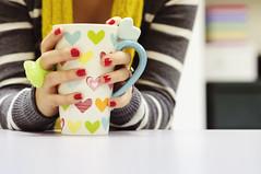 tres (SooSee.Q) Tags: red flower yellow scarf hearts three sweater stripes ring mug tres p op nailpolish 366 3652 bokehlicious