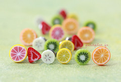 Pleeeeenty of Fruit Slice Earrings (PetitPlat - Stephanie Kilgast) Tags: fruit rainbow colorful small jewelry jewellery polymerclay fimo earrings minifood frucht schmuck slices inedible frchte miniaturefood fauxfood petitplat stephaniekilgast bijouxgourmands