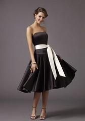 Black Matte Satin Strapless Tea-length Bridesmaid Dress with White Sash (topons) Tags: white black with dress sash bridesmaid satin strapless matte tealength