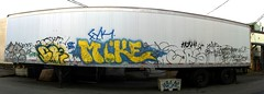 Arbr Skep Mike Cors (Grimey  Trains) Tags: street canada art mike vancouver graffiti bc tag bomb skep throwup cors handstyle arbr