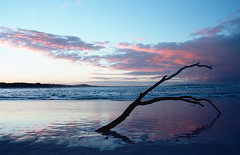 Noosa Sunset (35mm) (Matthew Post) Tags: sunset storm reflection river australia explore driftwood northshore queensland noosa stick sunshinecoast noosariver explored