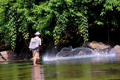 Catching fish with a throw net (Pison Jaujip) Tags: people male canon photography picture malaysia malaysian sabah kadazan dusun sabahan kadazandusun earthasia worldtrekker canoneos60d
