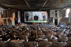 No Applause (Joscerb) Tags: abandoned chair chairs stage vegetation ferns auditorium asbestos